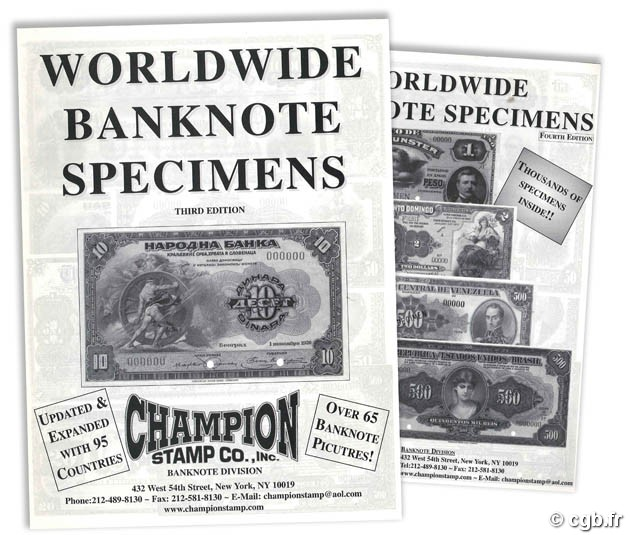 Worldwide Banknotes Specimens - third and fourth Editions - Champion Stamp