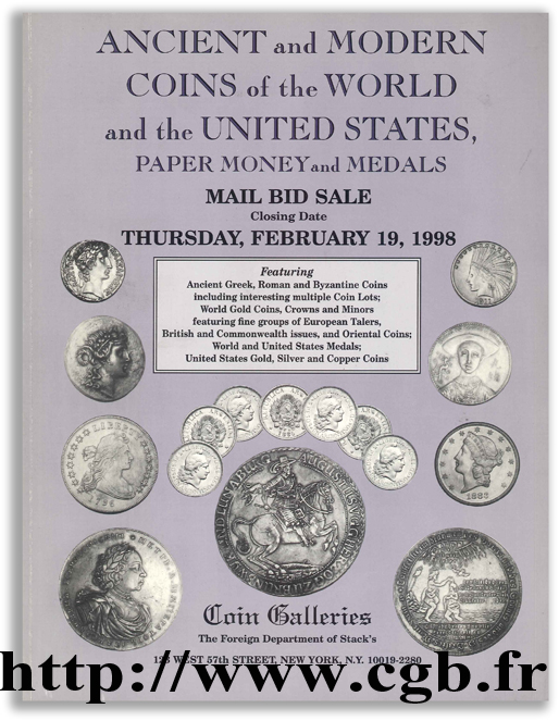Ancient and Modern Coins of the World and the United States, Paper Money and Medals - Mail Bid Sale - 1998 Collectif