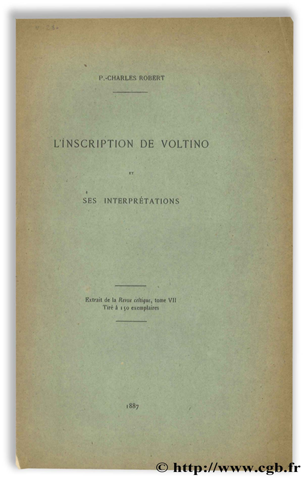 L inscription de Voltino et ses interprétations ROBERT P.-C