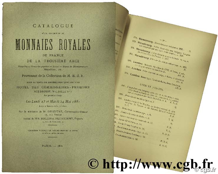 Catalogue d une collection de monnaies Royales de France de la troisième race... provenant de la collection de M. B. d. E. FEUARDENT F.