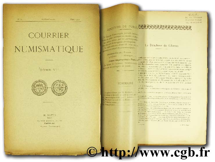 Courrier numismatique - Tome VII RATTO M.