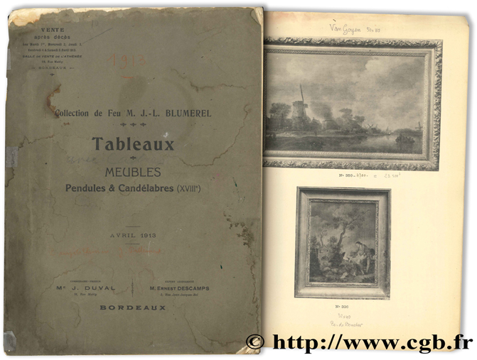 Collection de feu M. J.-L. BLUMEREL - Tableaux, meubles, pendules & candélabres (XVIIIe) - avril 1913 DUVAL J.