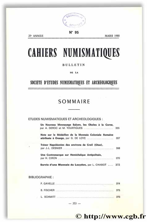 Cahiers numismatiques n°95 Collectif