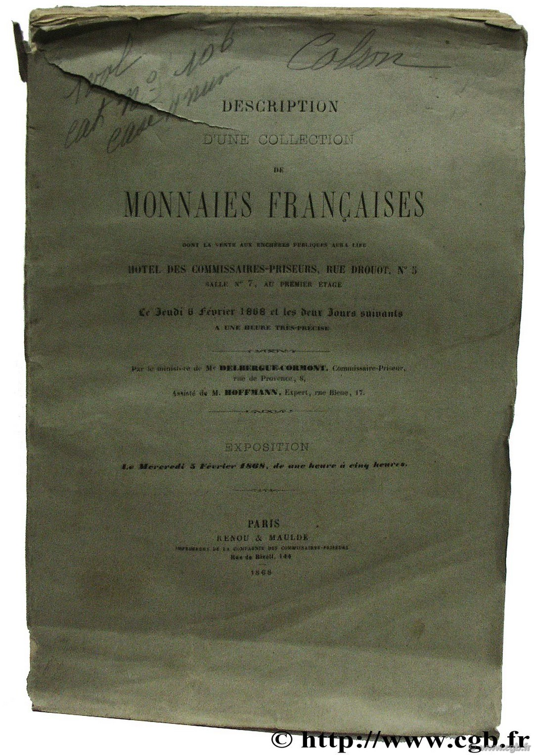 Description d une collection de monnaies françaises [collection Colson]
