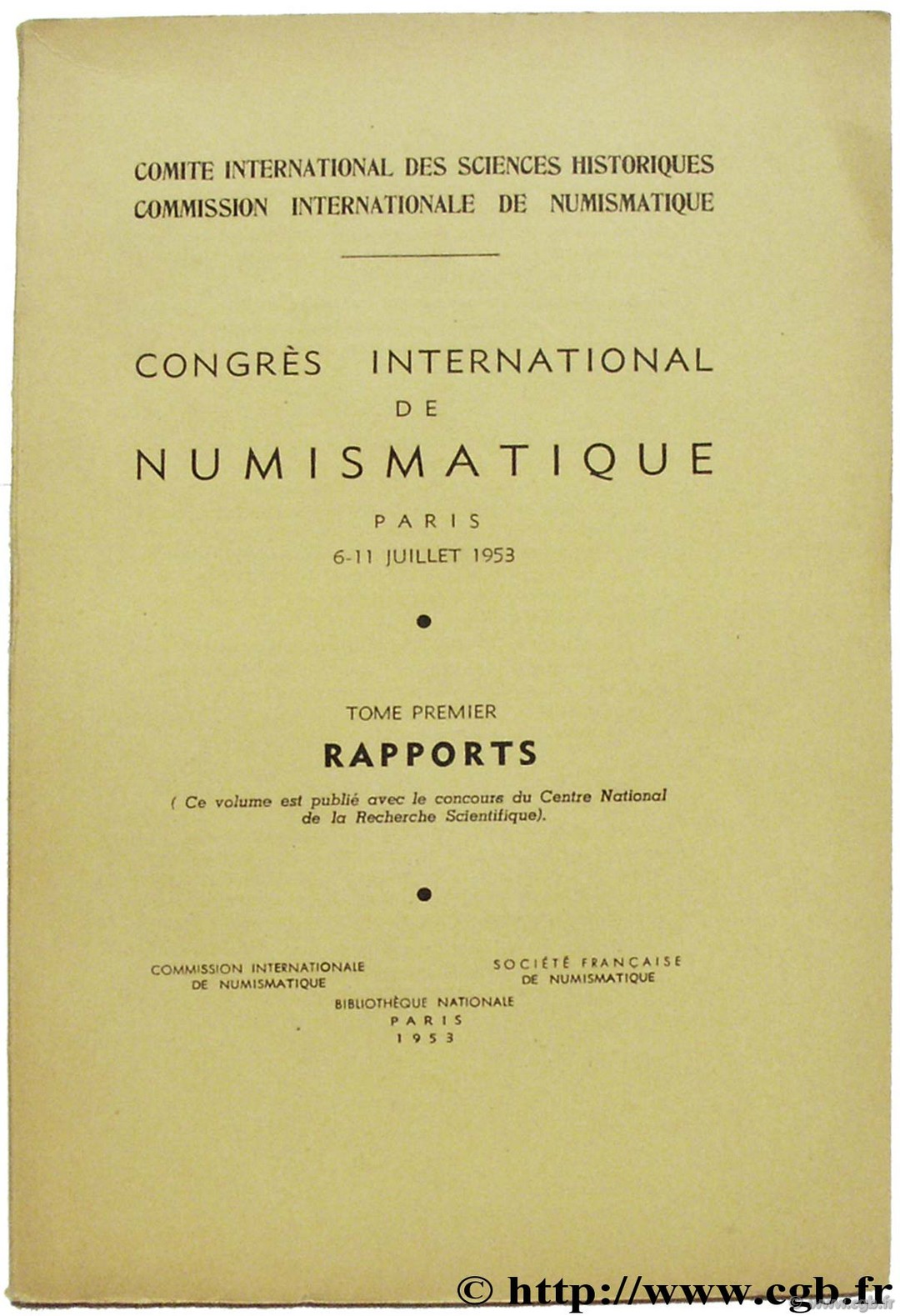 Congrès International de Numismatique BABELON J., LAFAURIE J.
