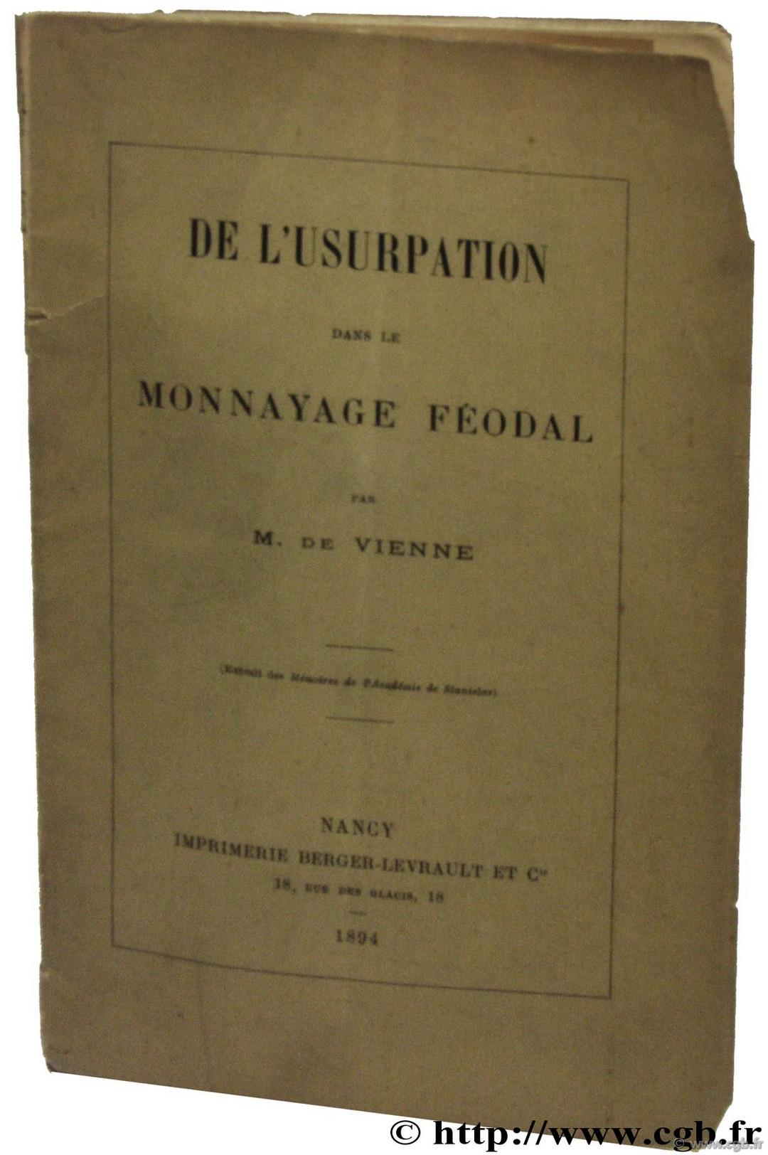 De lusurpation dans le monnayage féodal  VIENNE M. de