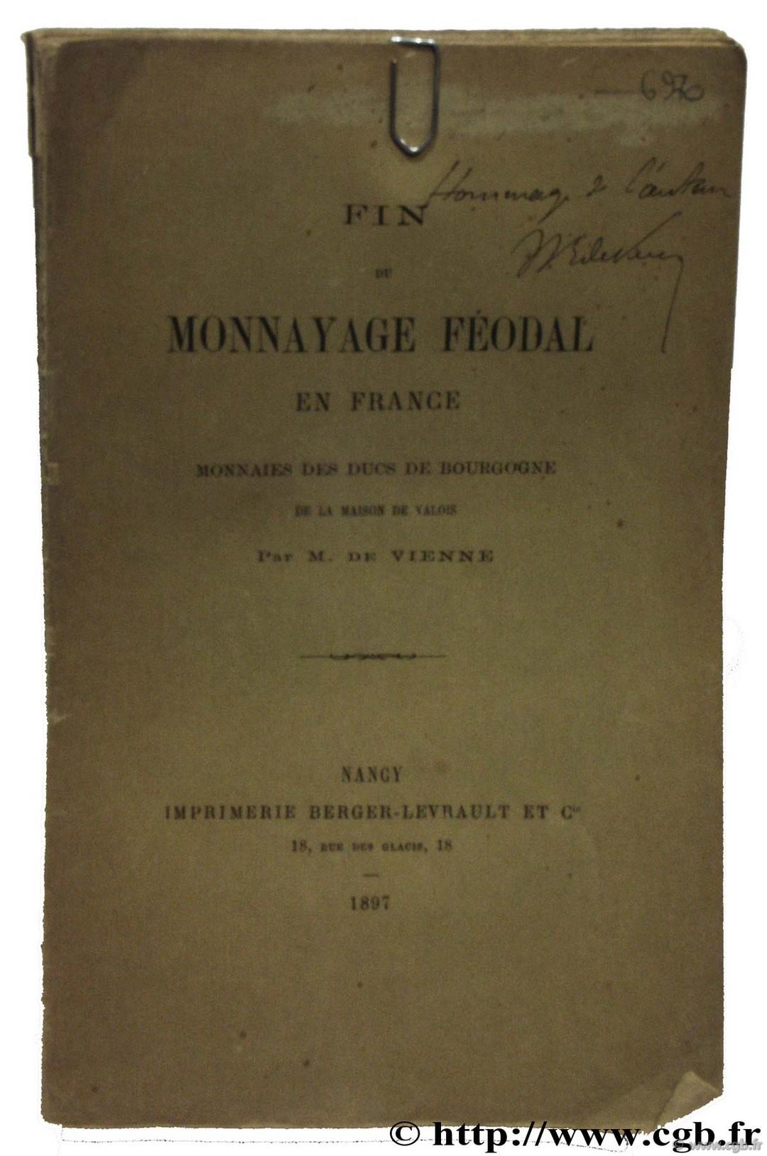 Fin du monnayage féodal en France VIENNE M. de