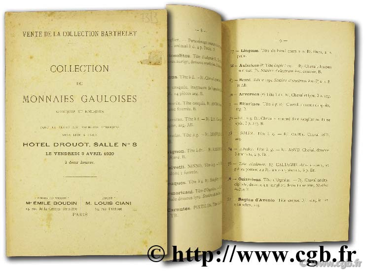Collection Barthelet. Collection de monnaies gauloises grecques et romaines CIANI L.