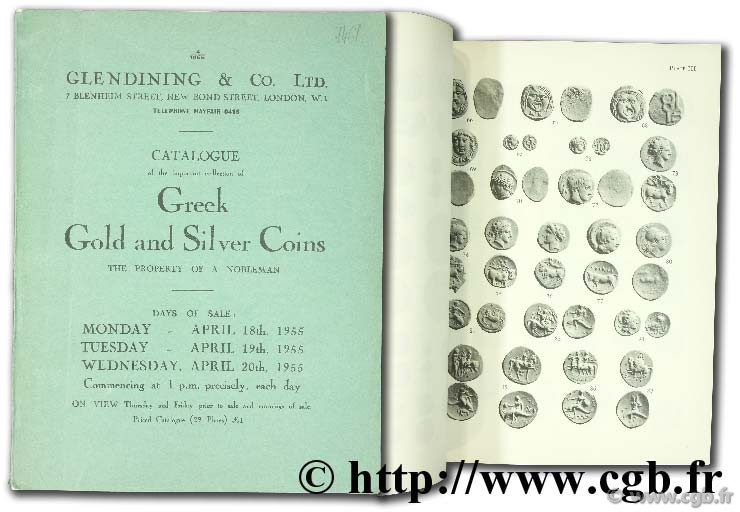Catalogue of the important collection of Greek Gold and Silver Coins, the property of a nobleman