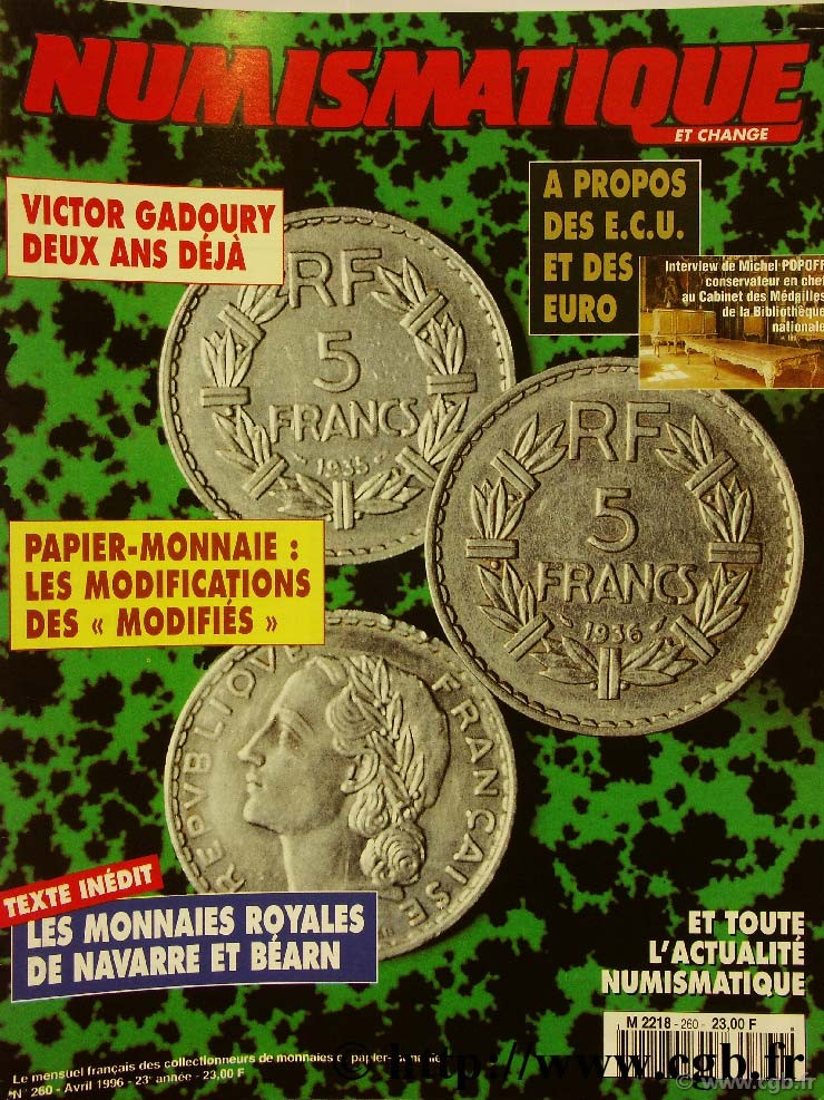Numismatique et change n°260, avril 1996 NUMISMATIQUE ET CHANGE
