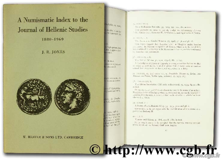 A numismatic index to the journal of hellenic studies JONES J.-R.