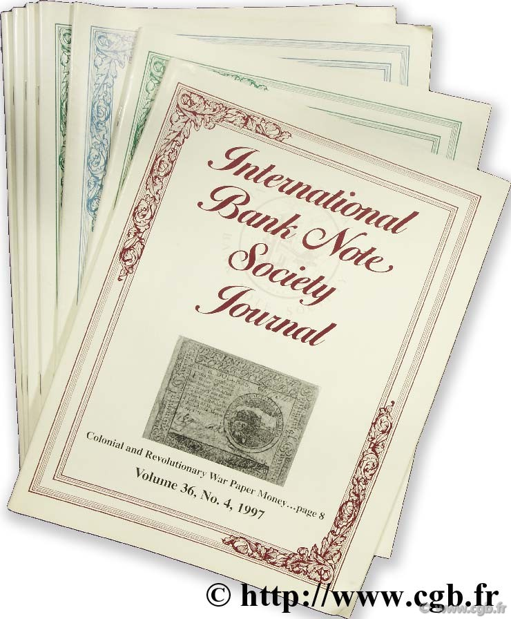 International bank note society journal 1997, 1998, 1999, 2000, 2001 (9 revues)