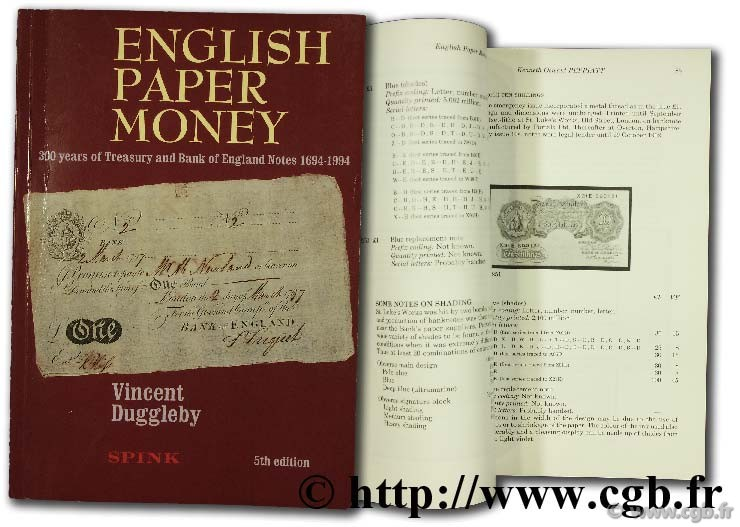 English paper money, 300 years treasury and Bank of England Notes 1694 - 1994 DUGGLEBY V.