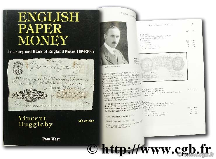 English paper money, treasury and Bank of England Notes 1694 - 2002  DUGGLEBY V.