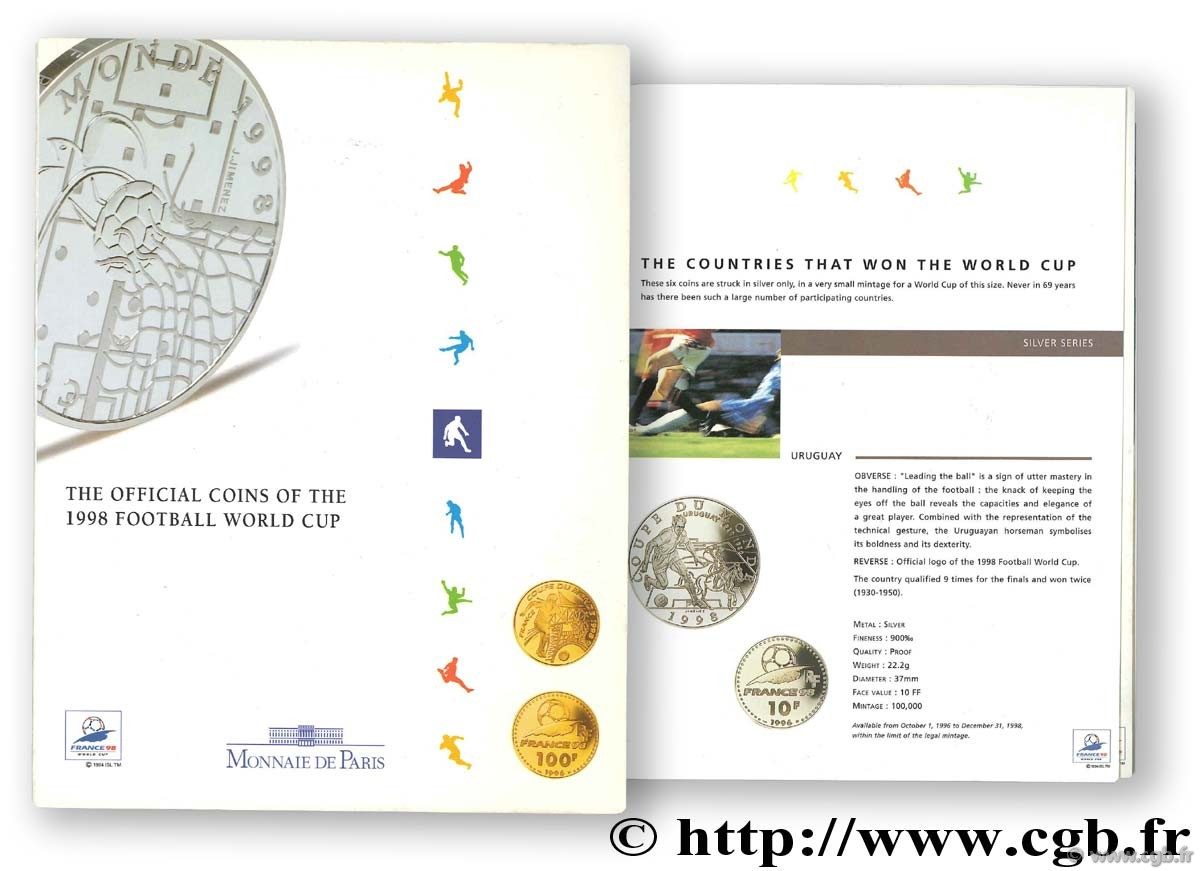 The Official coins of the 1998 Football World cup