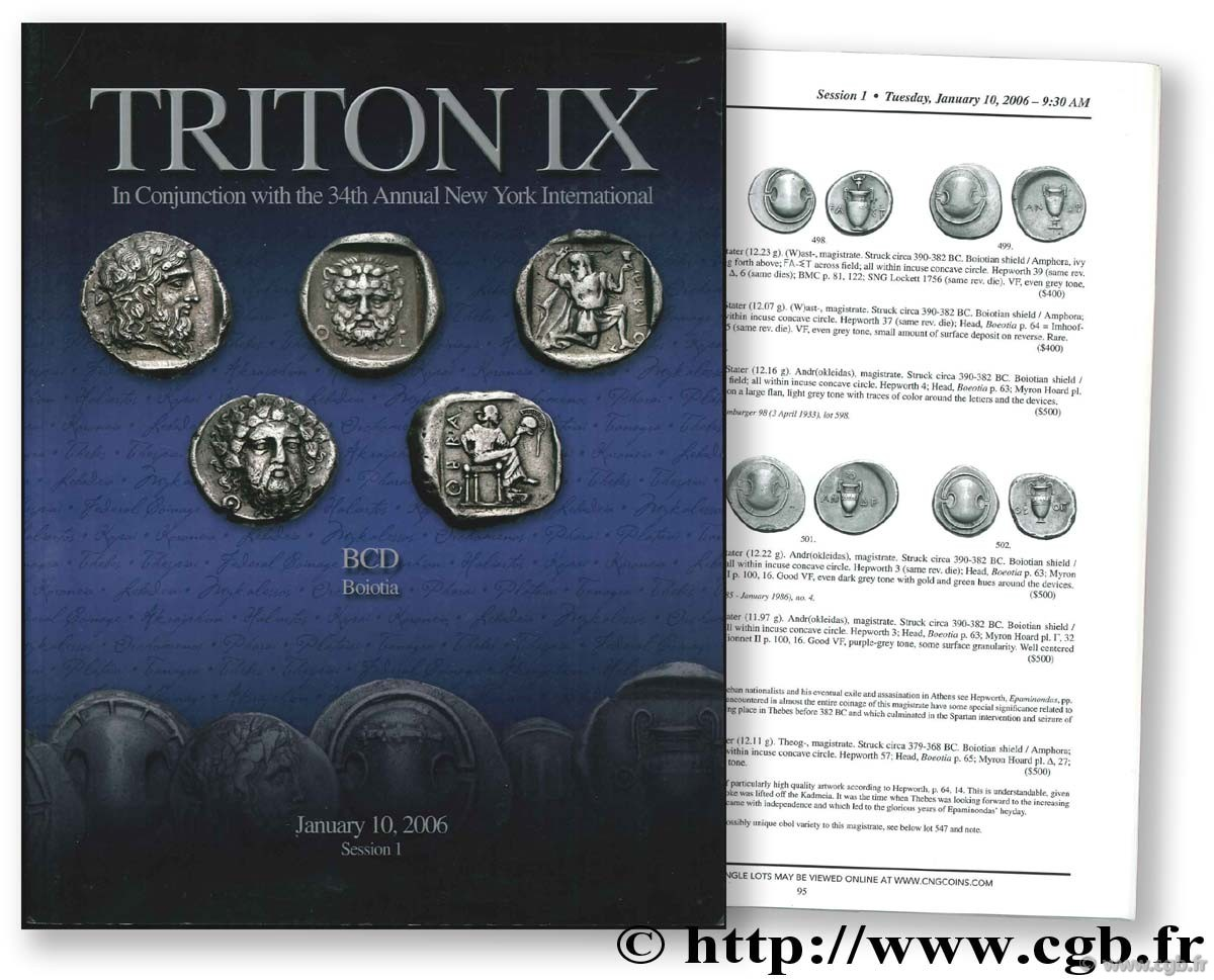 TRITON IX : The BCD Collection of the Coinage of Boiotia. January 10, 2006
