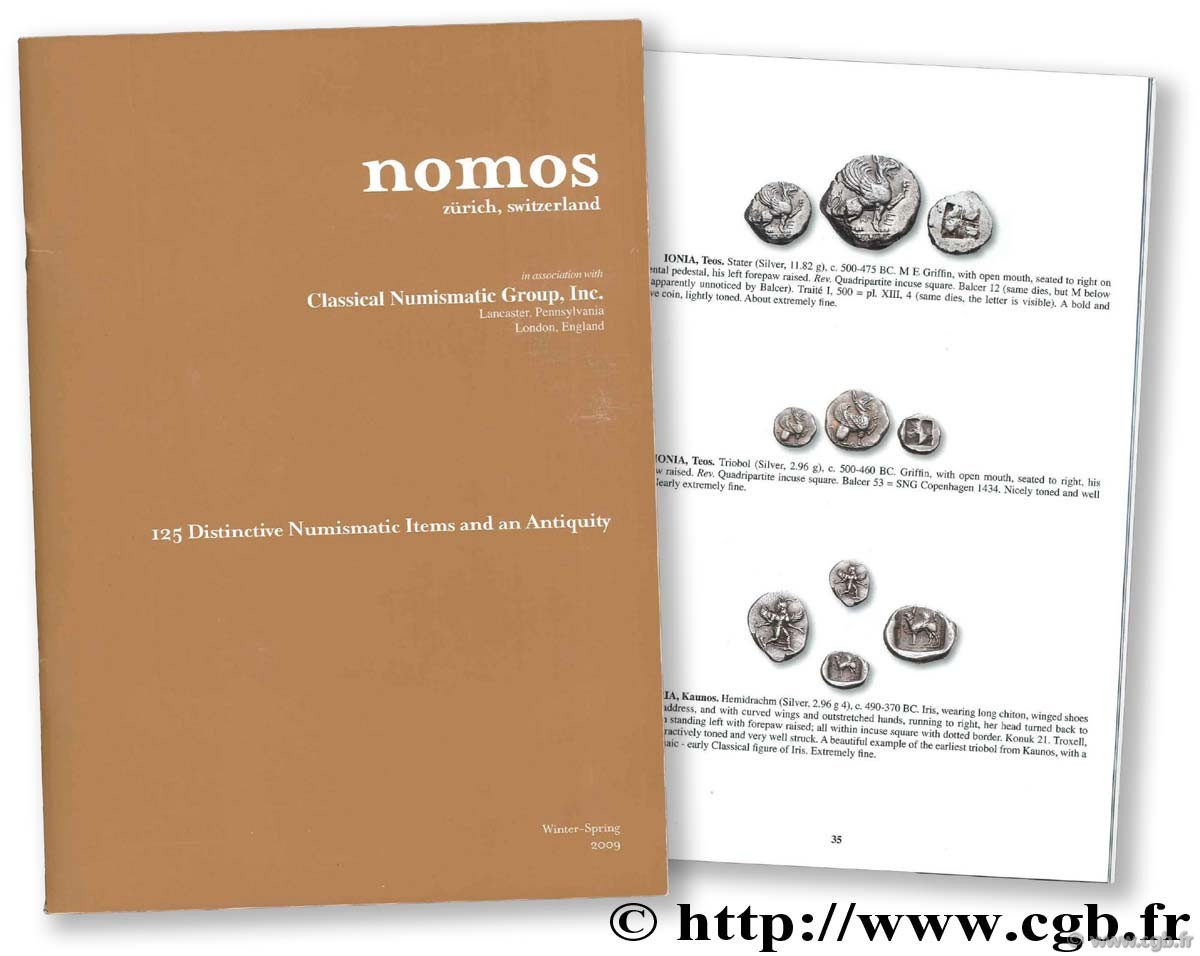 Nomos. 125 Distinctive Numismatic Items and Antiquity. Catalog Winter-Spring 2009