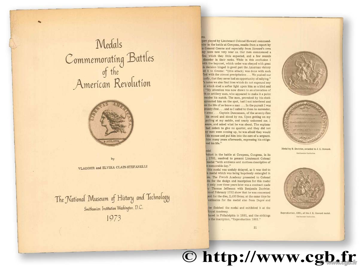 Medals Commemprating Battles of the American Revolution CLAIN-STEFANELLI V.