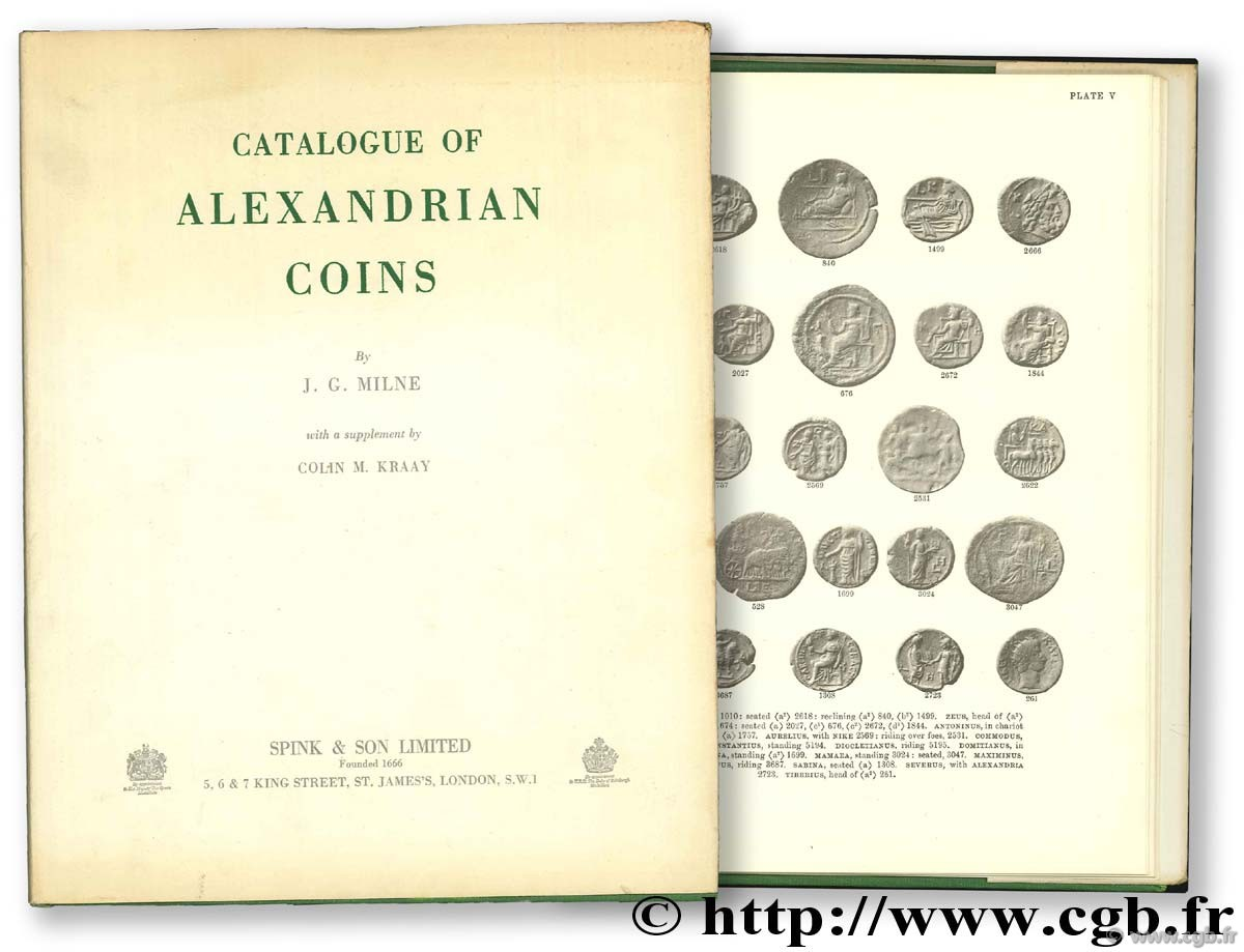 Catalogue of Alexandrian Coins MILNE J.-G.