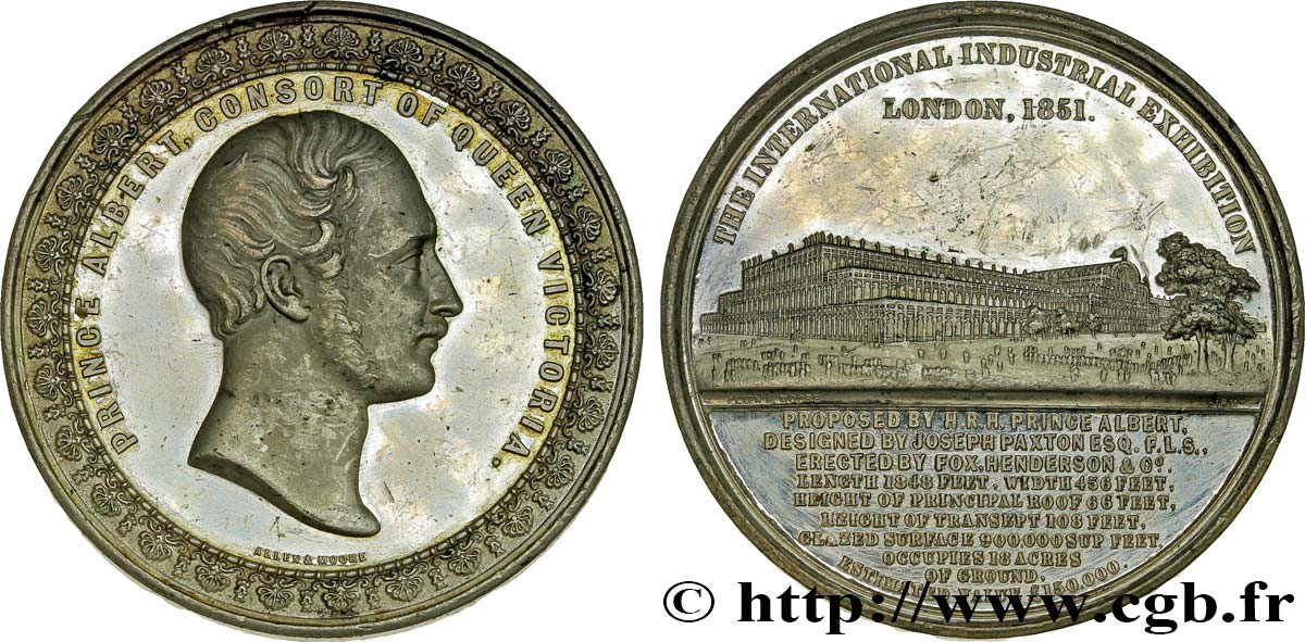 GREAT BRITAIN - VICTORIA Médaille du Crystal Palace - Prince Albert q.SPL