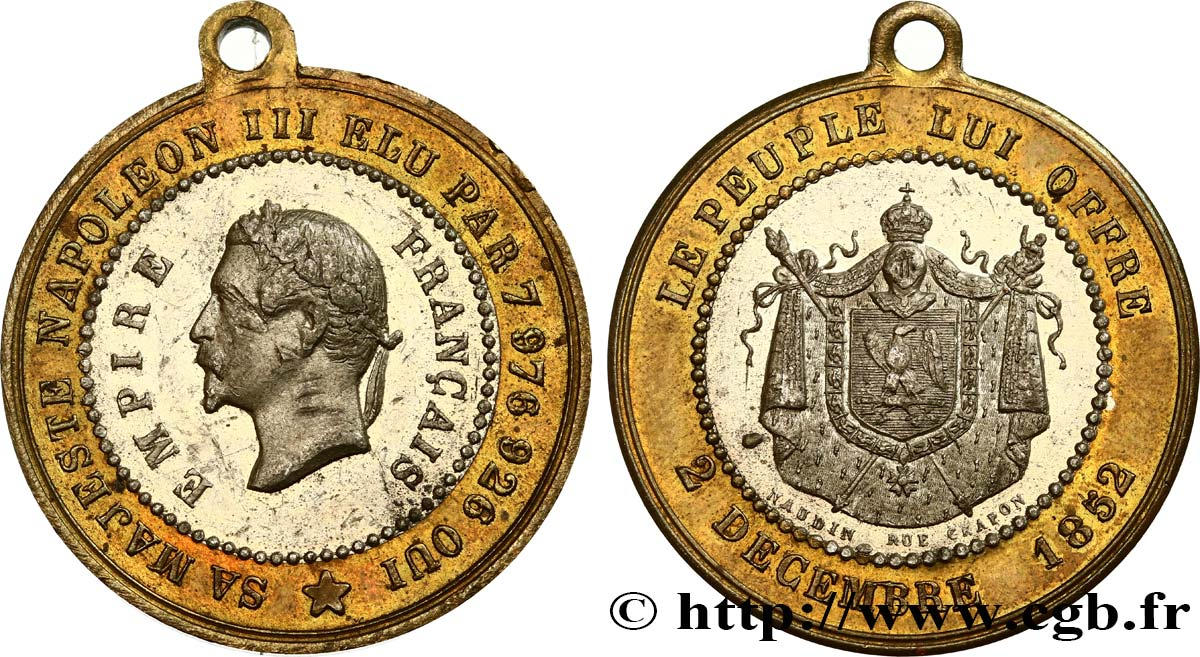 SECOND EMPIRE Médaille, Proclamation de l'empire TTB+
