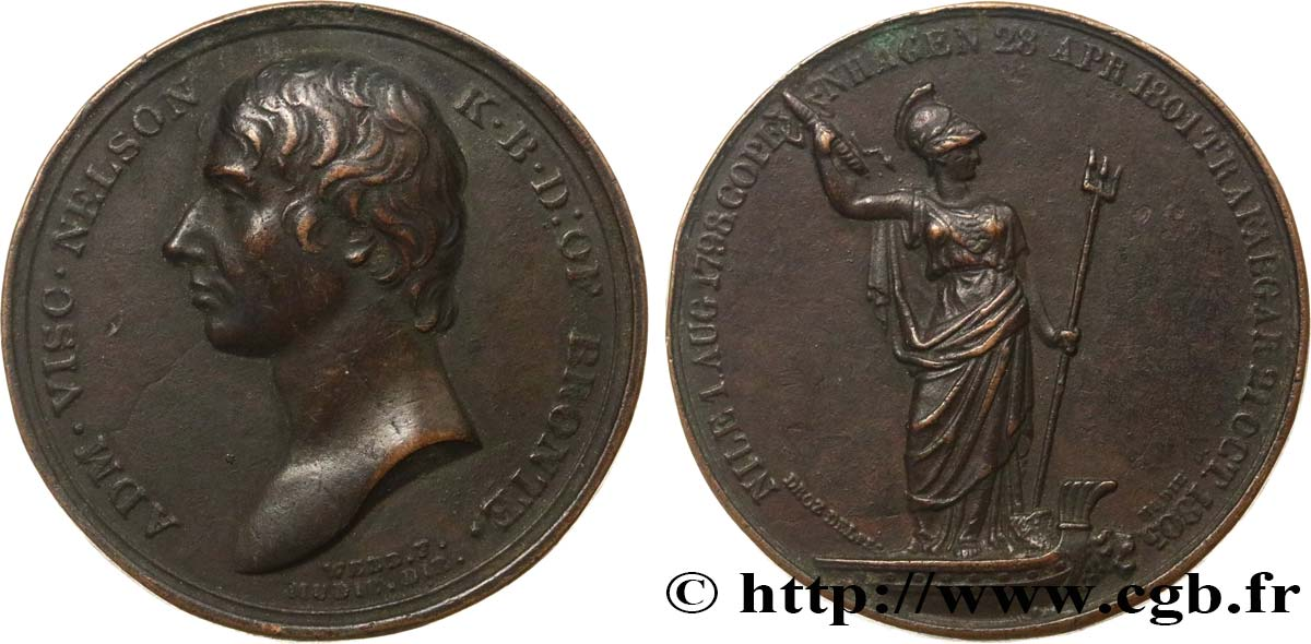 GRANDE-BRETAGNE - GEORGES III Médaille, Horatio Nelson TB+