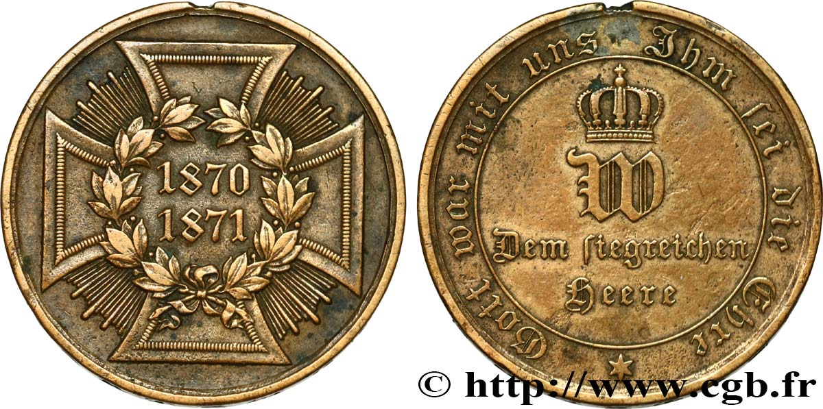 GERMANY - KINGDOM OF PRUSSIA - WILLIAM I Médaille commémorative, Guerre de 1870-1871 VF