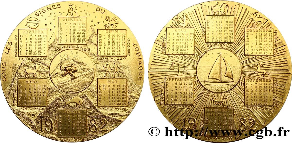 Calendrier Du Zodiaque.Cinquieme Republique Medaille Calendrier Sous Les Signes Du Zodiaque