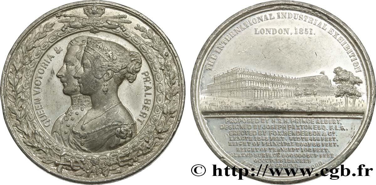 GREAT BRITAIN - VICTORIA Médaille du Crystal Palace - Couple royal SS