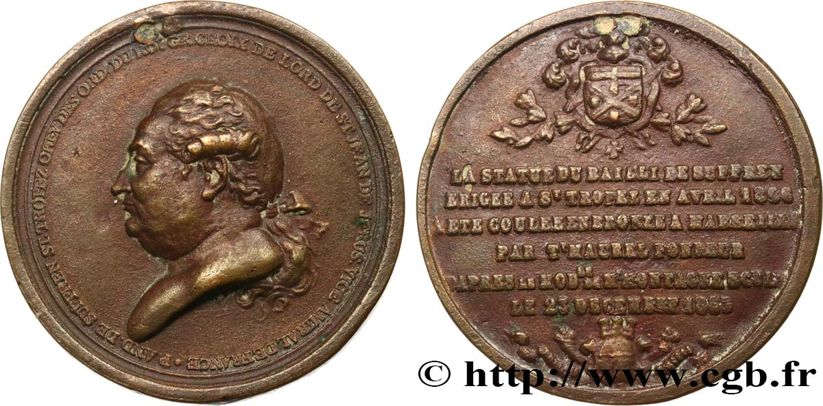 SECOND EMPIRE Médaille, Monument au bailli de Suffren TB+