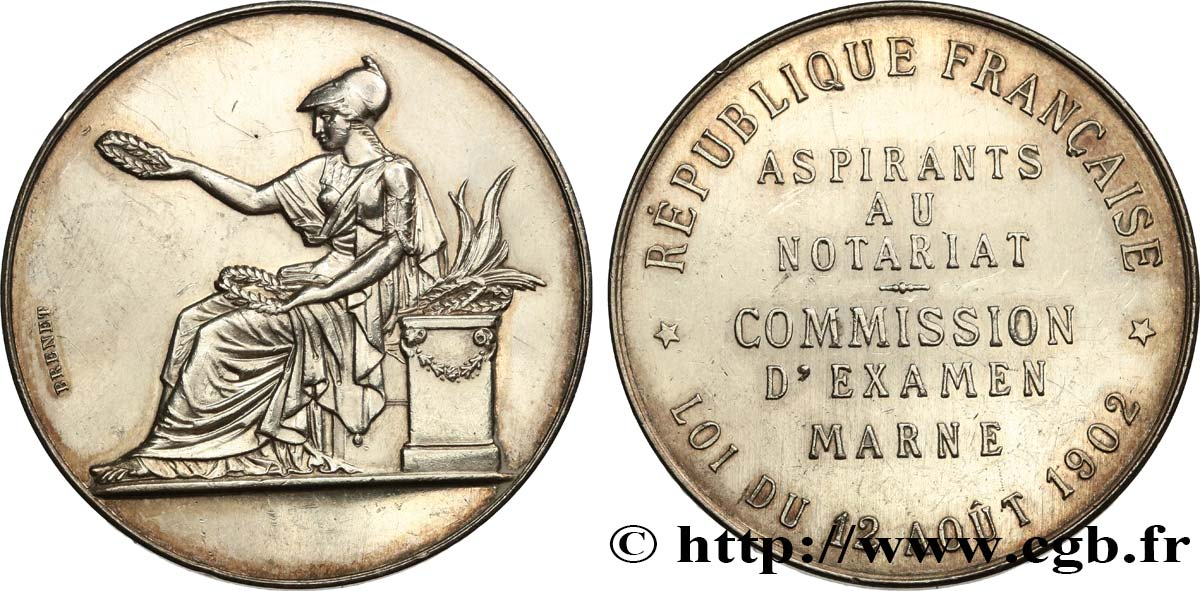 19TH CENTURY NOTARIES (SOLICITORS AND ATTORNEYS) Médaille, Notaires de La Marne AU