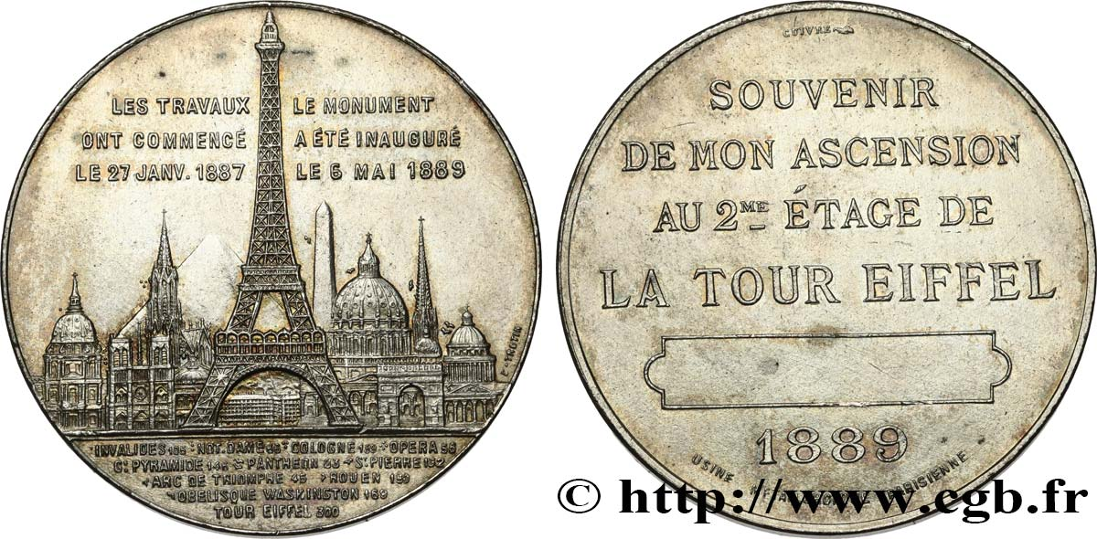 III REPUBLIC Médaille de l'ascension de la Tour Eiffel (2e étage) AU