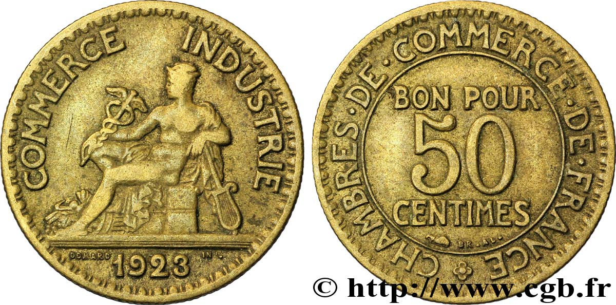50 centimes chambres de commerce 1923 paris fmd for Chambre de commerce de france bon pour 2 francs