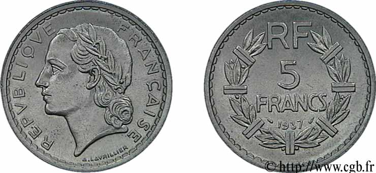 5 francs Lavrillier, nickel 1937  F.336/6 SUP62