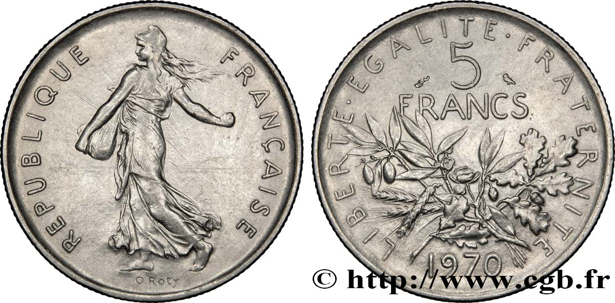 5 francs Semeuse, nickel 1970 Paris F.341/2 SUP55
