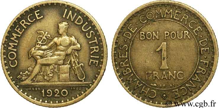 1 franc chambres de commerce 1920 paris fmd 108451 for Chambre commerce industrie paris