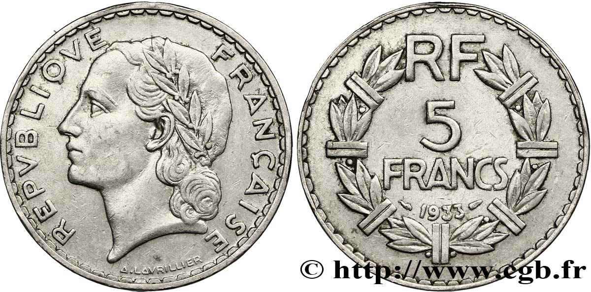 5 francs Lavrillier, nickel 1933  F.336/2 TB35