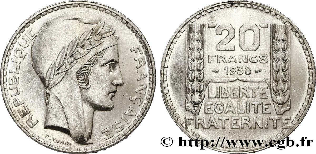 20 francs Turin 1938  F.400/7 SUP60