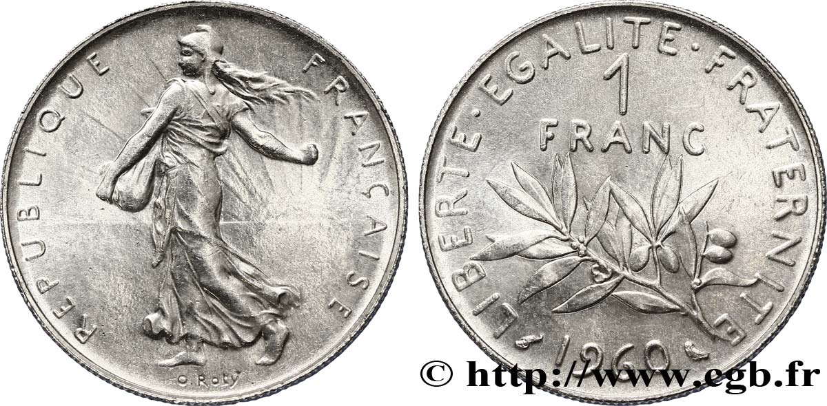 1 franc Semeuse, nickel 1960 Paris F.226/5 SUP58