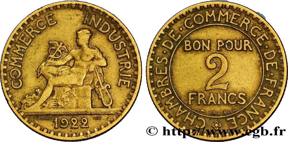 2 francs chambres de commerce 1922 fmd 127261 modernes for Chambre de commerce des bois francs