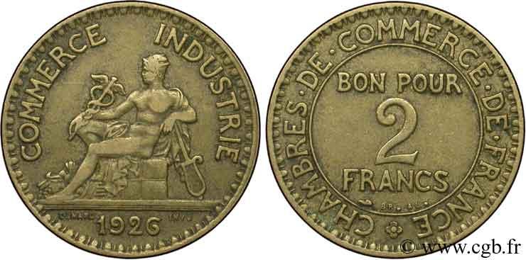 2 francs chambres de commerce 1926 fmd 127420 for Chambre de commerce des bois francs