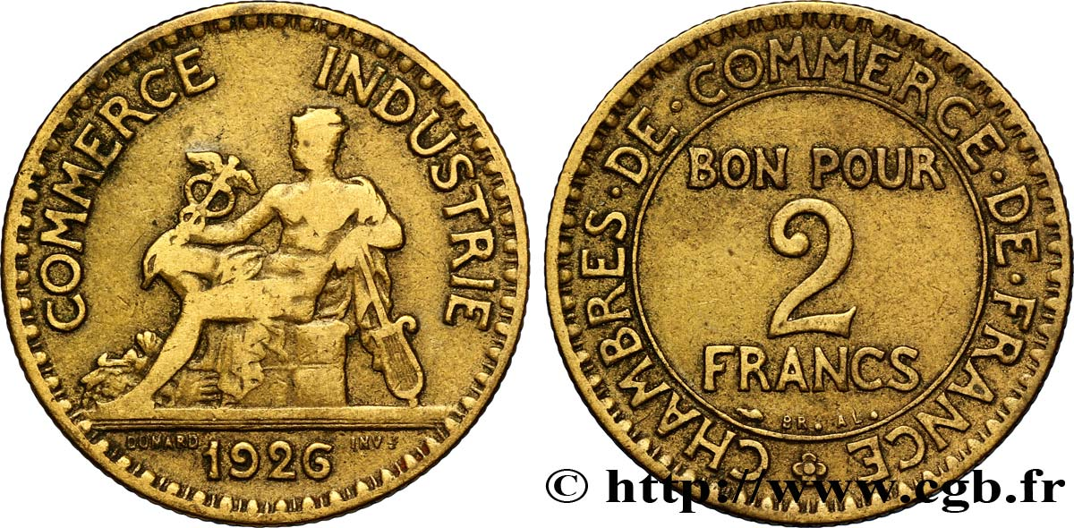 2 francs chambres de commerce 1926 fmd 127423 for Chamber de commerce