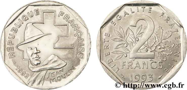 2 francs Jean Moulin 1993  F.273/2 SUP62