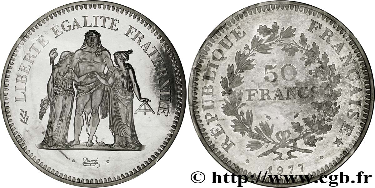 Piéfort argent de 50 francs Hercule 1977 F.427 5P fmd 139245 Modernes 40b50e9a458a