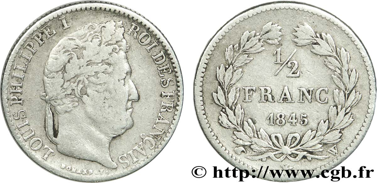 1/2 franc Louis-Philippe 1845 Lille F.182/109 TB20