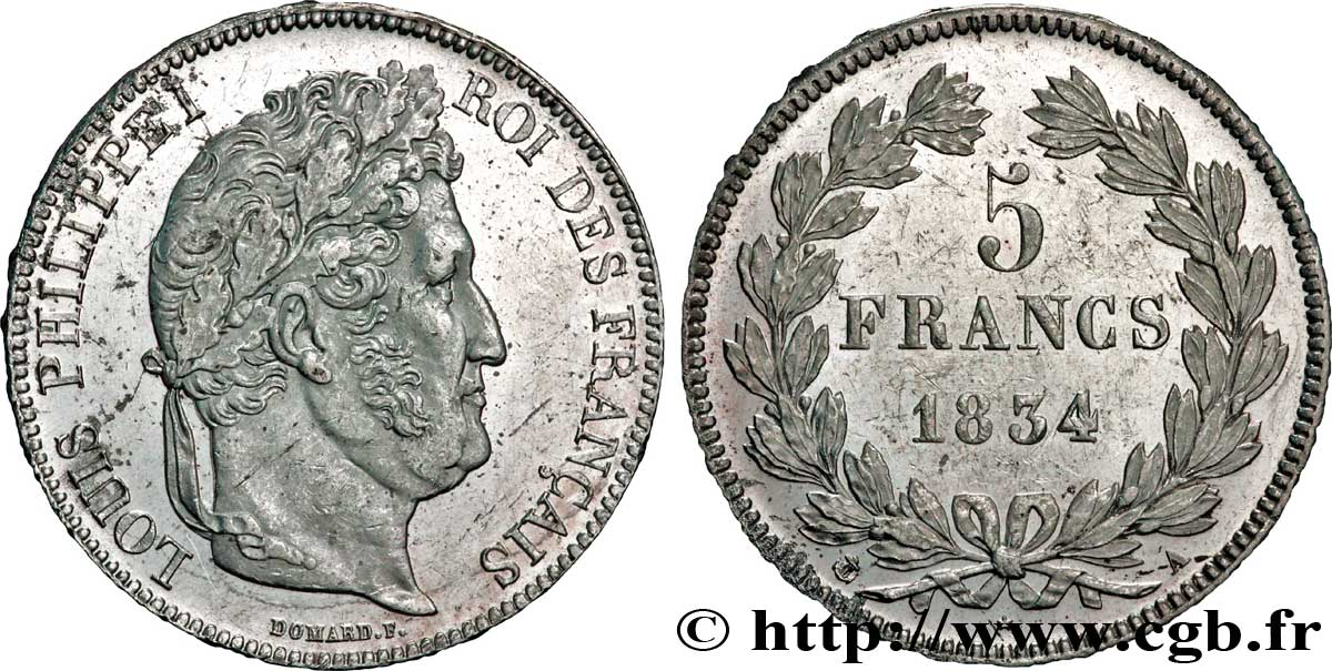 5 francs IIe type Domard 1834 Paris F.324/29 AU58