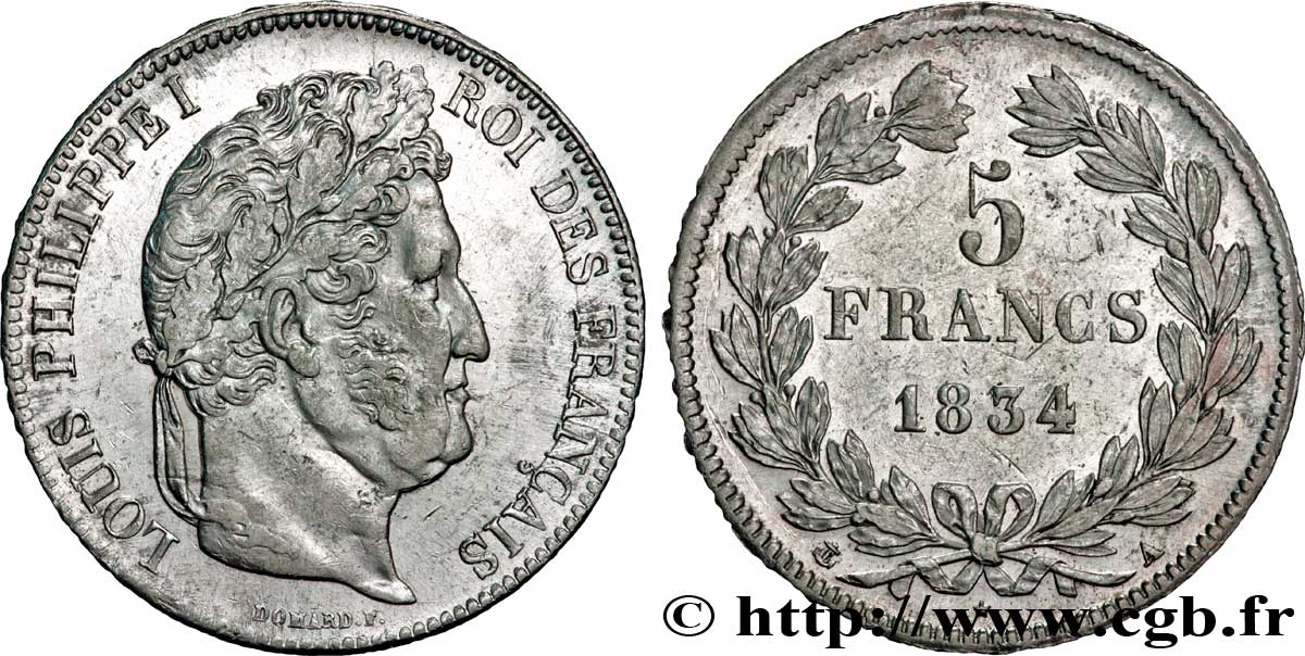 5 francs IIe type Domard 1834 Paris F.324/29 TTB50