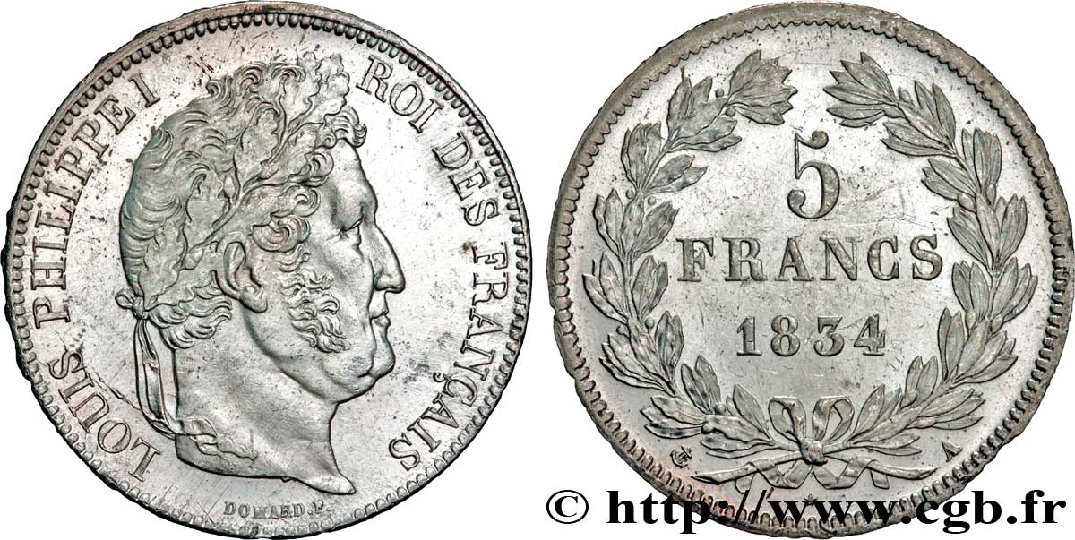 5 francs IIe type Domard 1834 Paris F.324/29 SUP59