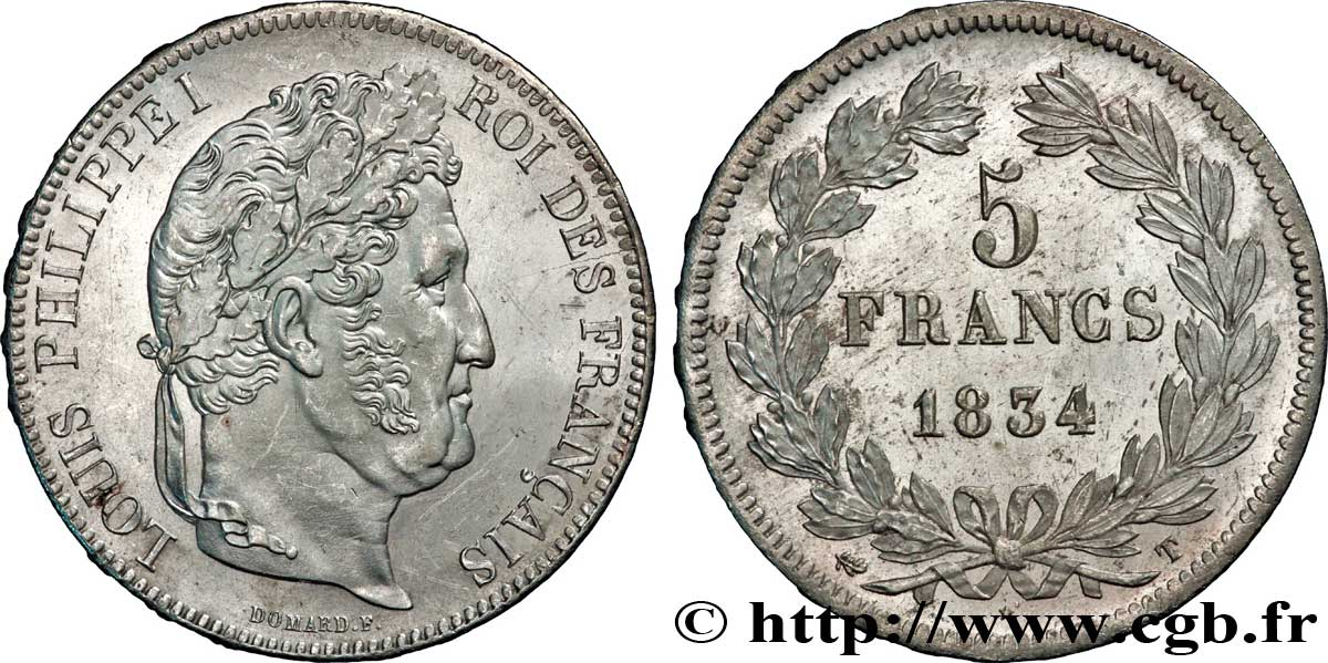 5 francs IIe type Domard 1834 Nantes F.324/40 SUP60