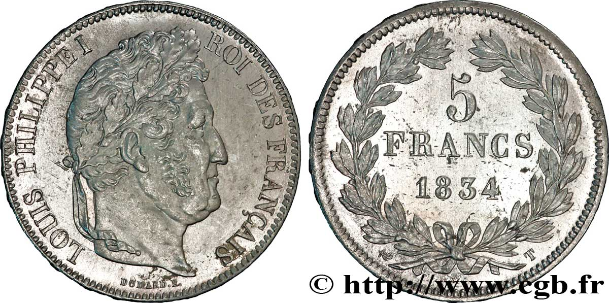5 francs IIe type Domard 1834 Nantes F.324/40 SUP58